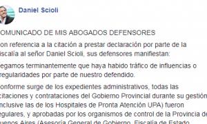 Comunicado de los abogados de Scioli donde salen a defenderlo tras ser procesado por corrupción