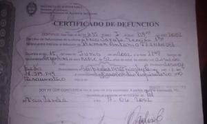 Certificado de defunción. (Imagen: Popular)