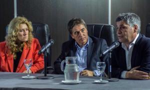 Lordén, Lorenzino y Martello, durante su exposición. Foto: Twitter Walter Martello.