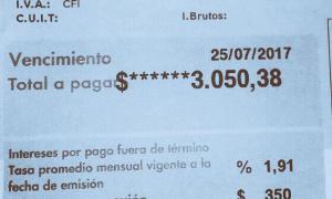 Llegaron tarifas de más de 3.000 pesos           Foto: Facebook Matías Italiano