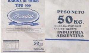 Retiran del mercado las harinas de trigo marcas Rosedal y Aluminé