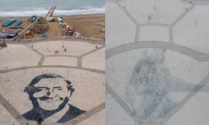 Gigantesca imagen de Kirchner en la Rambla fue removida (@dronmardelplata)