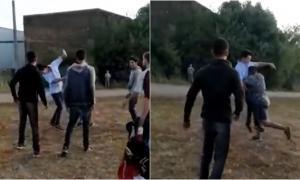 El comienzo de la pelea. Por esta razón se suspendió el uso del predio. (Captura de video)