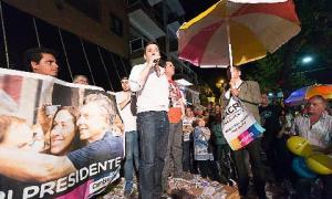 Los festejos y el agradecimiento en Luján por el triunfo de Mauricio Macri.