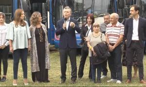 Macri lanzó el nuevo servicio de colectivos en Junín.