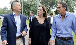 Macri con Vidal y Katopodis en San Martín. Foto: Telam