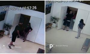 El ataque quedó registrado en las cámaras de seguridad.