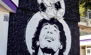 Mural hecho en polideportivo de Quilmes