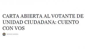 Carta abierta de Sergio Massa al votante de Unidad Ciudadana.