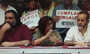 Roberto Baradel, Alesso y Eduardo López, representante porteño.