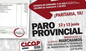 Cicop anunció el paro mostrando el recibo de sueldo de un ingresante. Imagen: Cicop Prensa.