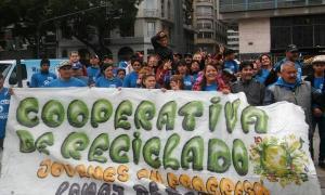 Los cooperativistas reclaman en Lomas de Zamora.