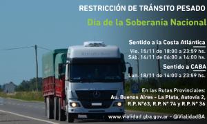 Restricción de tránsito pesado por el fin de semana largo del Día de la Soberanía