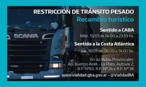 Restricción de camiones en rutas de la Provincia de Buenos Aires por recambio turístico