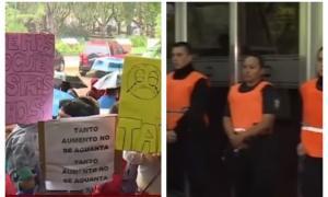 Los vecinos se manifestaron frente a la Municipalidad.