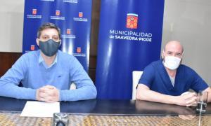 El intendente, Gustavo Notararigo, y el secretario de Salud, Guillermo Tizón