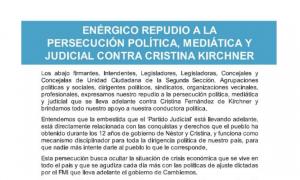 """El kirchnerismo de la Segunda sección repudió la """"persecución"""" a Cristina Kirchner y le manifestó su apoyo"""