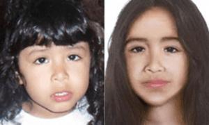 Sofía Herrera cuando desapareció y su proyección a los 12 años.