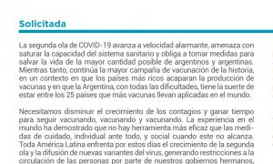 Segunda Ola Covid: Intendentes y legisladores bonaerenses oficialistas firman solicitada en apoyo a las medidas del presidente