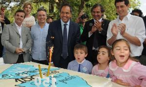 Scioli en los festejos por el 150° aniversario de Suipacha.