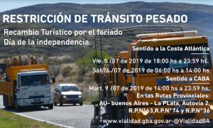 Restricción de camiones en rutas de la Provincia por fin de semana largo del 9 de julio