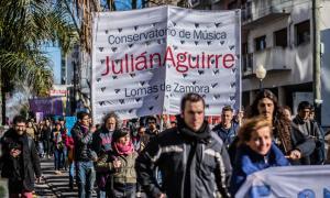 La comunidad estudiantil del Conservatorio Julián Aguirre denunció el estado edilicio del establecimiento. Foto: La Noticia 1.
