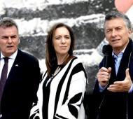 Macri y Vidal de campaña junto a Gay en Bahía Blanca. Foto: Archivo.