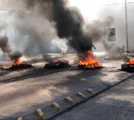 Imagen de uno de los piquetes en el ingreso al barrio Belén.