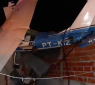 Así quedó la aeronave tras el impacto.
