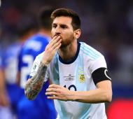 Messi marcó el empate para Argentina.