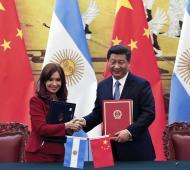Cristina Fernández firmó acuerdos con Xi Jimping. Foto: Télam.
