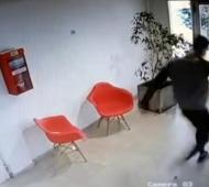 Captura del momento del ataque al can. Todo quedó registrado por una cámara de seguridad.