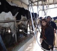 Cristina estuvo con productores rurales de Lincoln.