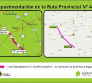 El tramo a repavimentar de la Ruta provincial 46. Fuente: Vialidad PBA
