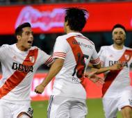 Pisculichi celebra su gol ante Rafaela.