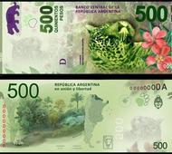 Nuevos billetes de 500 pesos argentinos.