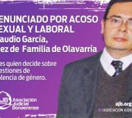 El magistrado está acusado de acosar sexualmente y ejercer violencia laboral contra una empleada.Foto:Asociación Judicial Bonaerense (AJB)