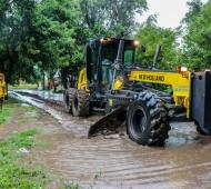 Calles anegadas e inconvenientes por las fuertes lluvias en la Provincia. Foto: Twitter