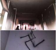 Destrozos y cruces esvásticas en el colegio Almafuerte. Fotos: Letras San Vicentinas