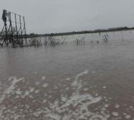 San Antonio de Areco bajo el agua. Foto: @CyntDef