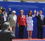 Cristina junto a los mandatarios que participan de la cumbre. Foto: Twitter @MRECIC_ARG