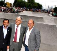 De Vido con Secco y Patricio Mussi en la inauguración de una pista de ciclismo Bmx en enero de 2015.