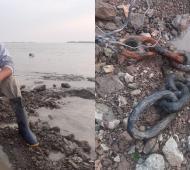 Pescador halló eslabones de una cadena en el río y estudiarán si se usaron en la batalla de Vuelta de Obligado