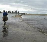 Campo bajo agua. Foto: @miscaballos