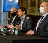 Alak, Kicillof y Berni en el anunció del plan de infraestructura