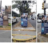Denuncian robo de carteles políticos en San Martín.