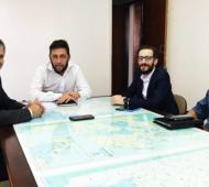 Britos con el ministro Agustin Simone, el jefe de gabinete, Diego Menéndez y el subsecretario de Obras Públicas, Ernesto Selzer.