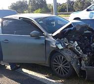 Así quedó el auto de los custodios de Ducoté. Foto: Diario Resumen
