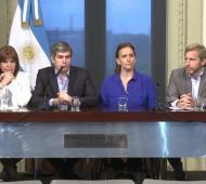 Bullrich, Peña, Michetti y Frigerio, en Casa Rosada.