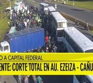 Corte total en Autopista Ezeiza - Cañuelas.